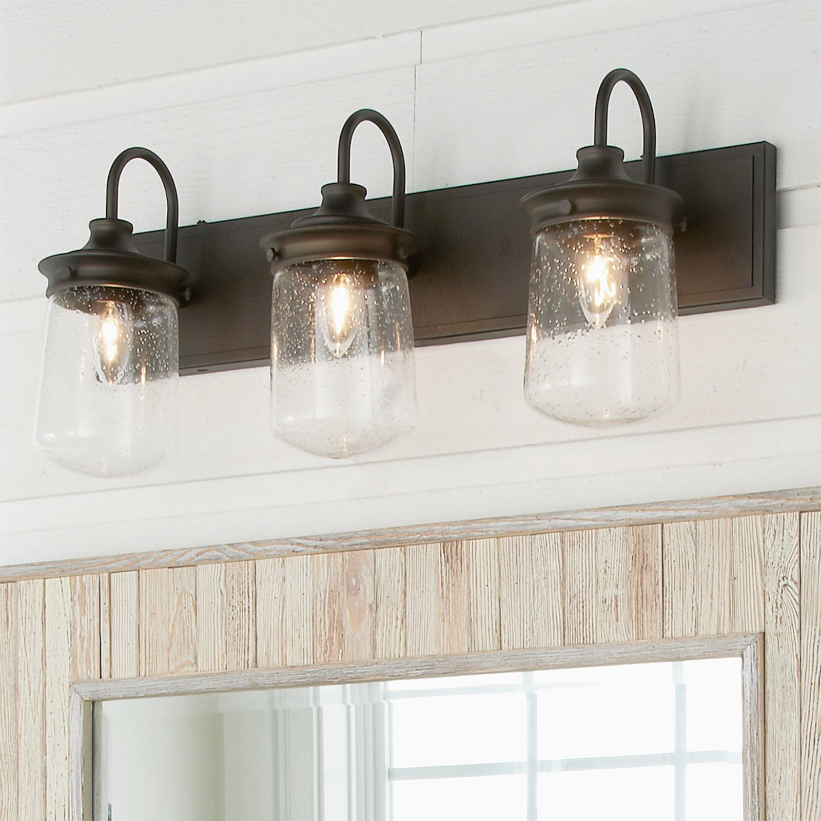 Jar Glass Seeded Vanity Light 3 light in 2020 (With