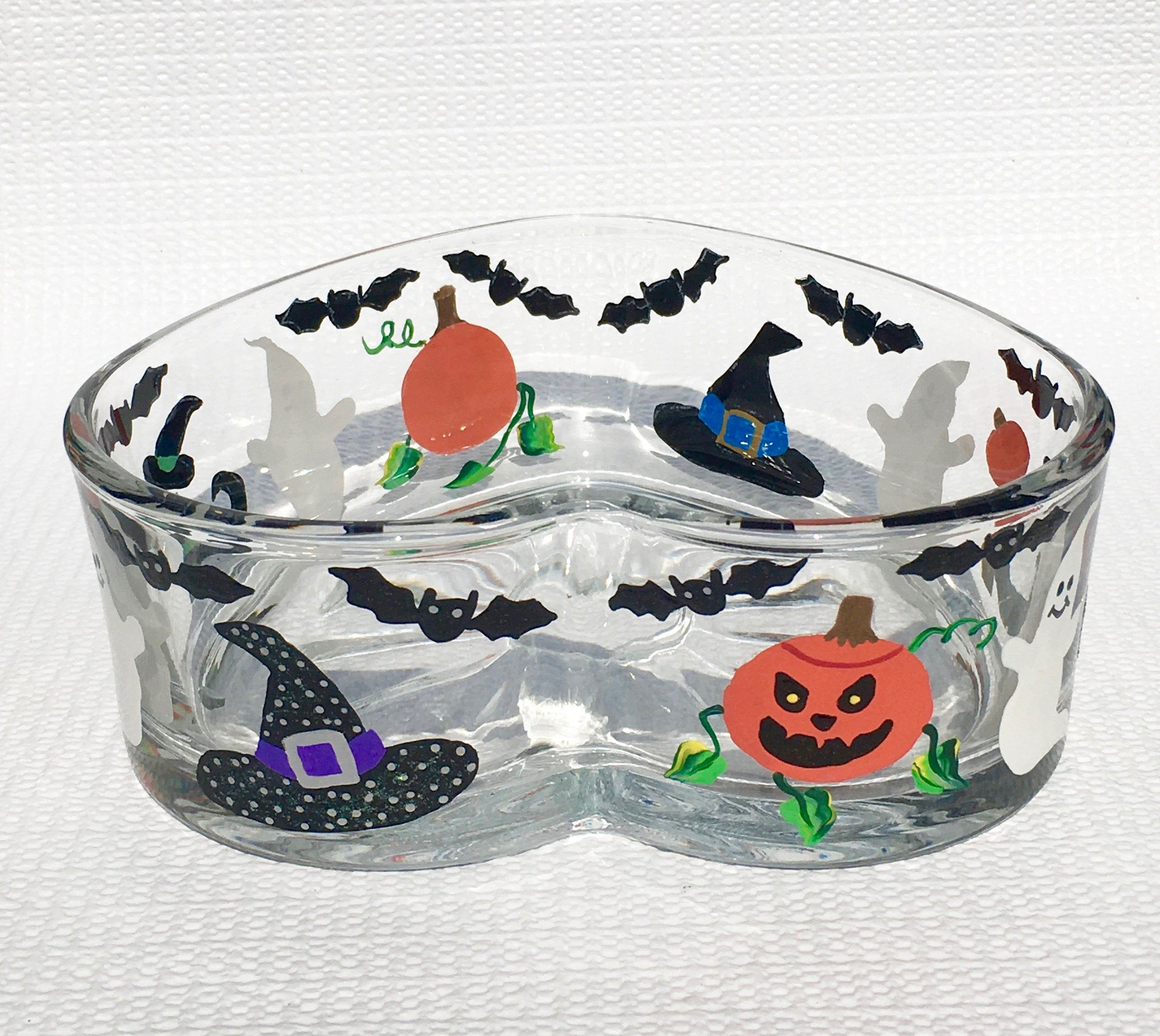 Halloween Heart Shaped Candy Dish With Hand Painted