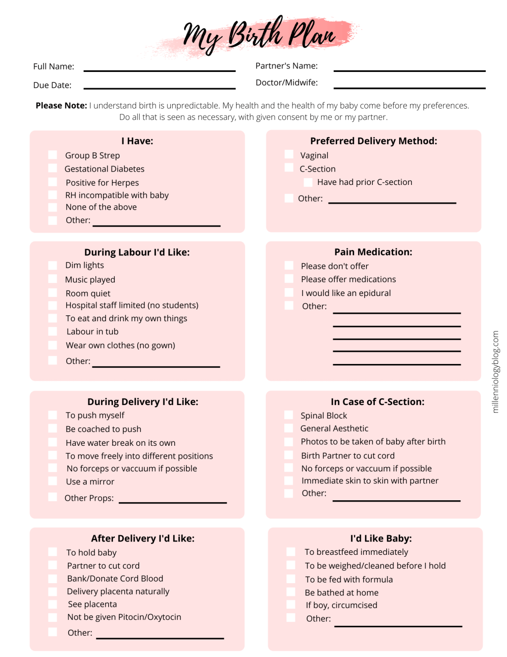 Simple Birth Plan Template - All You Need To Know ...