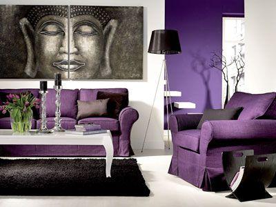 Wohnzimmer in Lila Violett, Flieder, Lila edel und mondän - wohnideen wohnzimmer lila