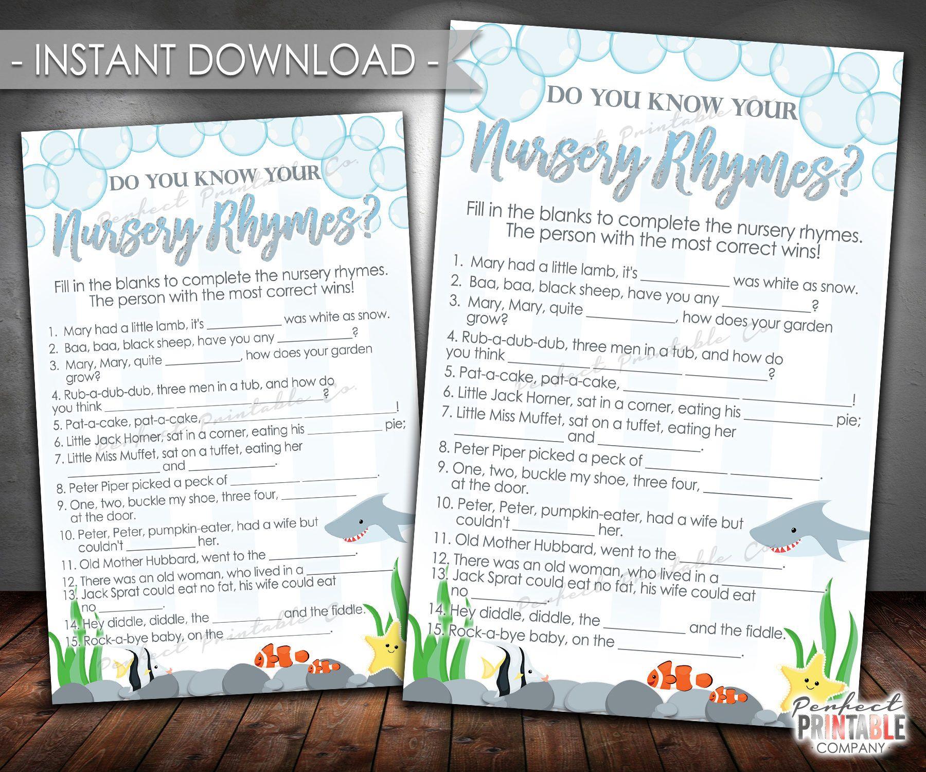 Shark Nursery Rhyme Game Do You Know Your Nursery Rhymes