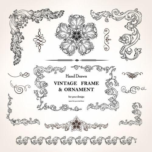 Set of Vintage design elements vector Borders 01   Graphic ...