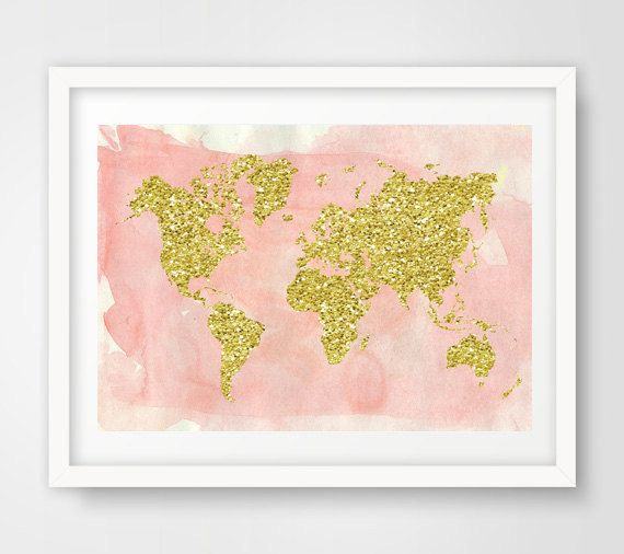 World map wall art map poster world map print map nursery map of gold glitter world map in pink watercolor wall art print its minimal and it will gumiabroncs Choice Image