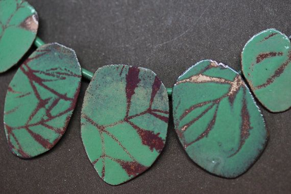 leaf Silhouette Necklace OOAK Willow green by CynthiaDelGiudice