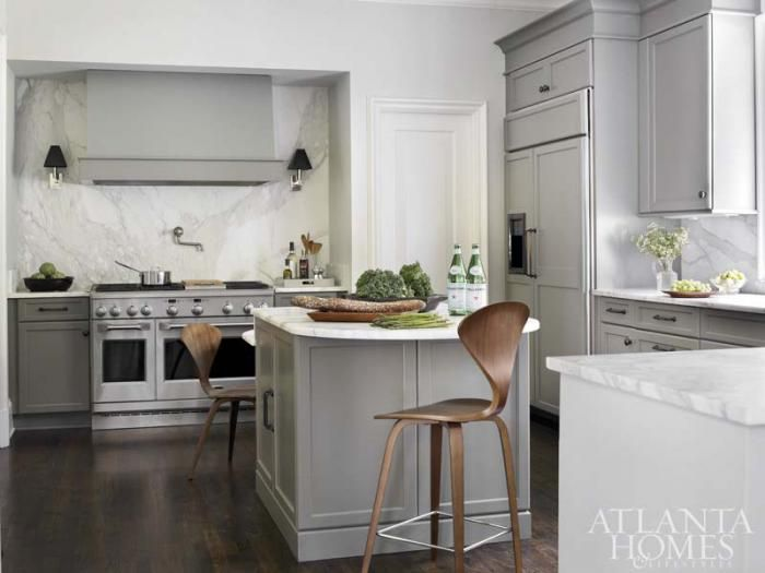 Atlanta Homes & Lifestyles - kitchens - gray kitchen, monochromatic gray kitchen, gray kitchen cabinets, gray kitchen cabinetry, multi level...