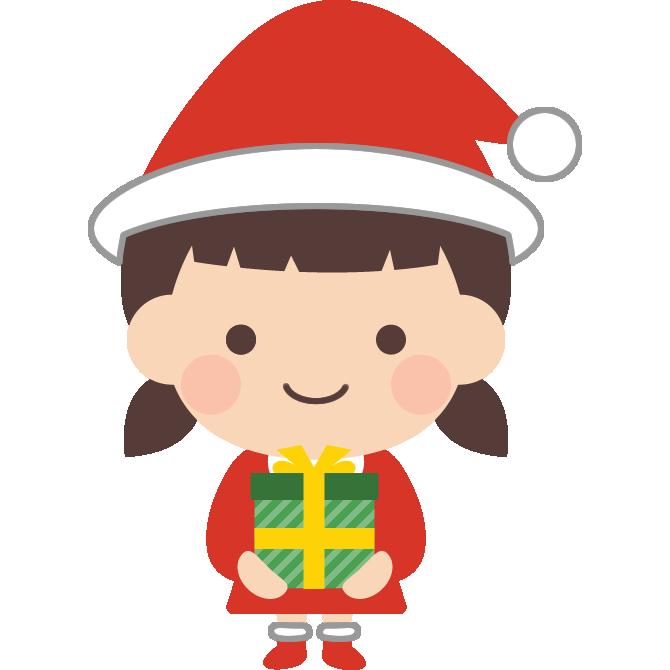 サンタクロースの格好をした女の子のイラスト サンタクロース 保育園児 サンタクロース イラスト