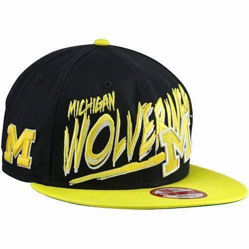 NCAA New Era Michigan Wolverines Word Scribbs 9FIFTY Adjustable Snapback Hat  - Navy Blue New Era.  27.95 4090ac46920