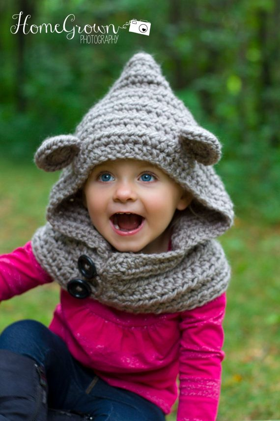 Bear Hooded Cowl Child Cowl Crochet Bear Cowl Animal Hat Bear