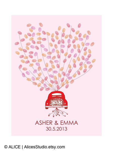 Wedding Guest Book Alternative Personalised Just Married Car Guest Book Print Fingerprint Or Balloons Canvas Paper Or Digital Printable Just Married Car Wedding Guest Book Thumbprint Guest Books