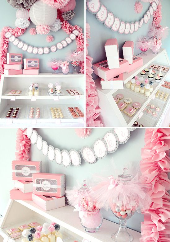 Ballerina dessert table...I love everything about it.  This would be great for a birthday party for little girls, or als  o for a baby shower, when the expected arrival is going to be a girl.