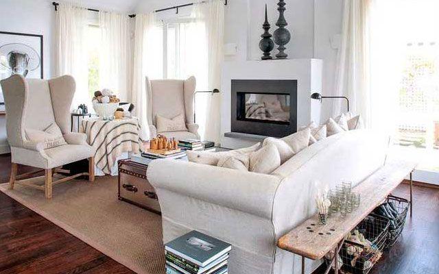 ideas para decorar el saln un banco detrs del sof