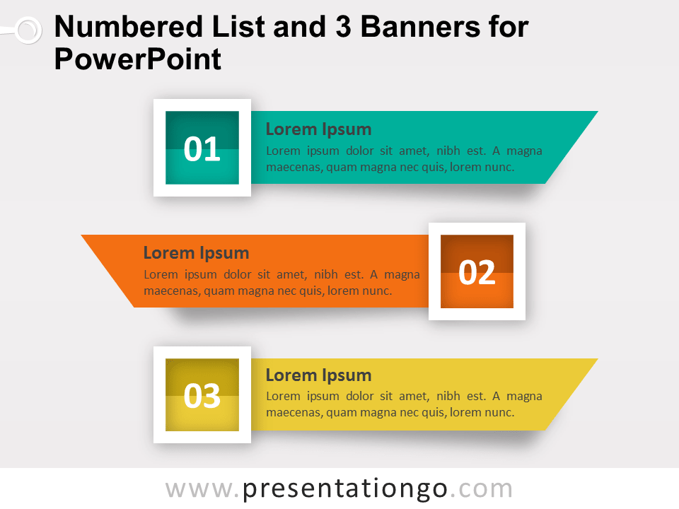 Numbered List And 3 Banners For Powerpoint Presentationgo Com Powerpoint Banner List Template