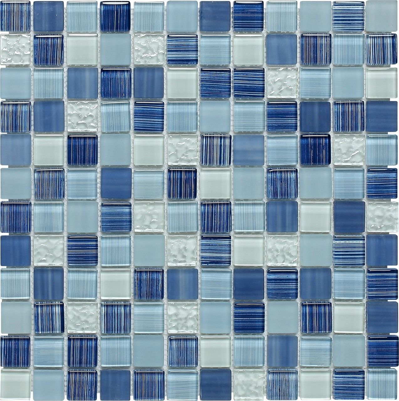 Glass Mosaic Tile Clear Blue Blend 1x1 | Mineral Tiles | Backyard ...