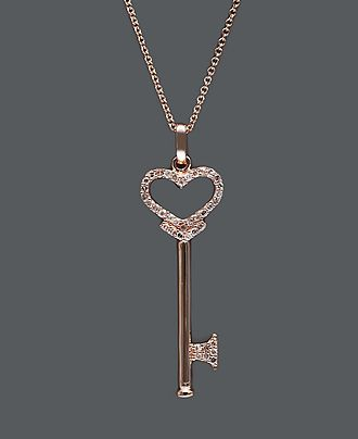 Pave rose by effy diamond diamond heart key pendant 15 ct tw effy collection diamond necklace 14k rose gold diamond heart key pendant 15 mozeypictures Images