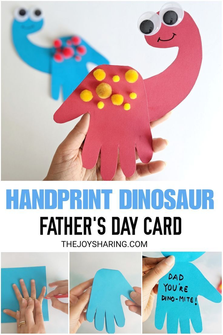 Dinosaur Handprint Card Dad Youre Dinomite Cute handprint fathers day card for preschoolers and kindergarten kids to make via 4joyofsharing