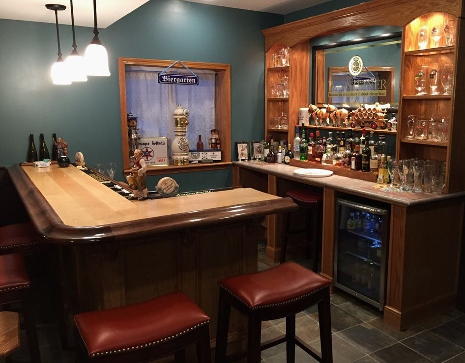Here Is Another Home Bar Top Completed With Our Br475 Walnut Bar Rail Molding And Maple Bar Top Kits Making Building A Home Bar Home Bar Designs Bars For Home