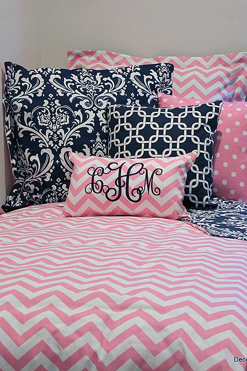 Pink U0026 White Chevron Designer Teen U0026 Dorm Bed In A Bag | Teen Girl Dorm  Room Bedding | Dorm | Pinterest | Girl Dorms, Dorm Room And Pink White