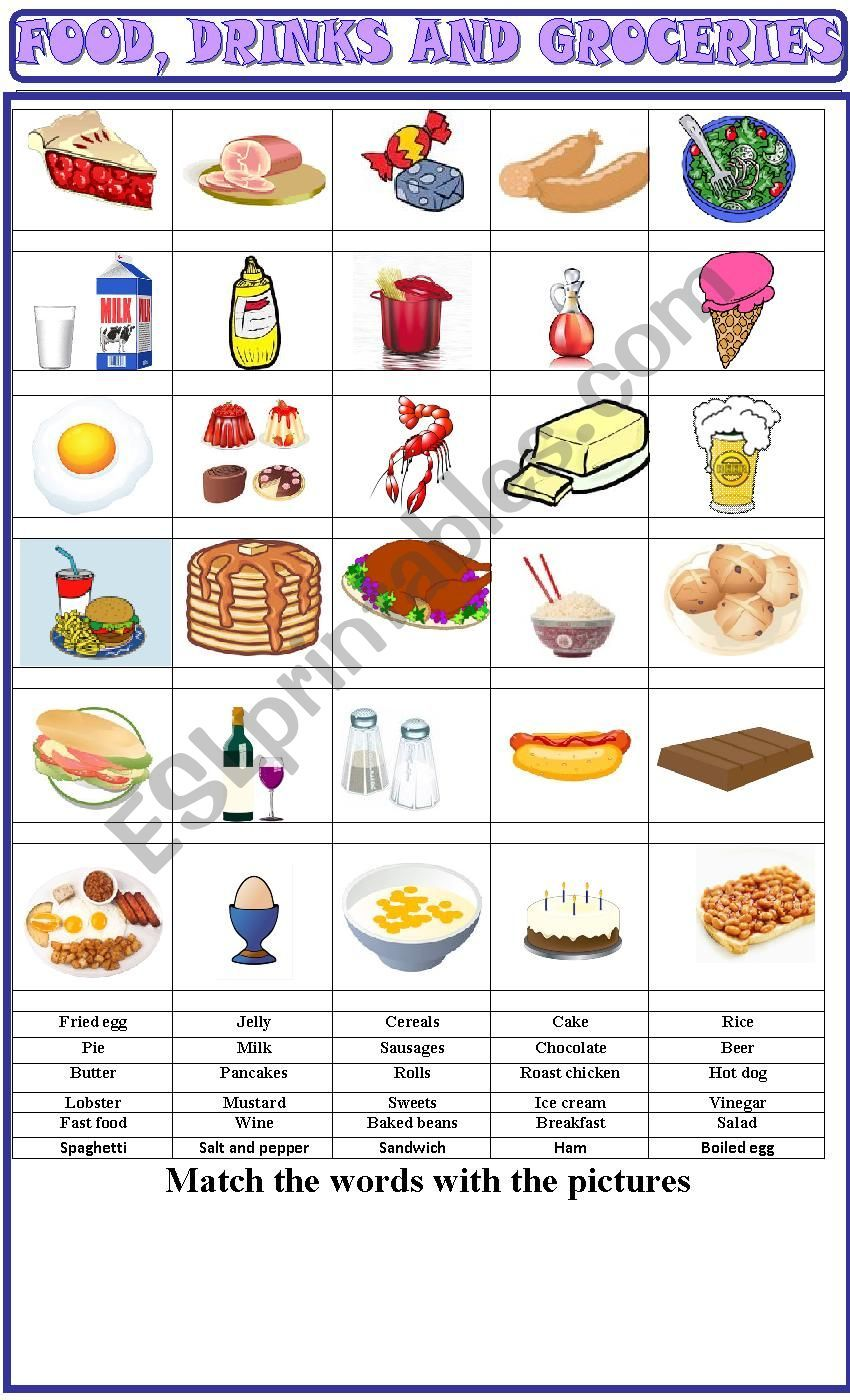 Food , Drinks And Groceries:matching Exercise