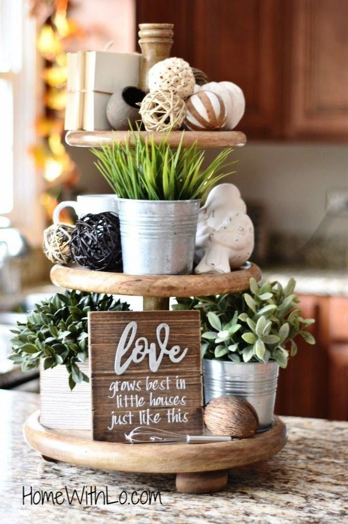Farmhouse style three tier decorative tray. Detailed description and source list available at homewithlo.com #farmhousehomedecoration #tieredtraydecor