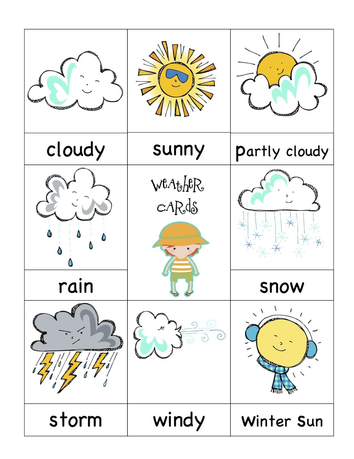 Preschool Printables Weather Cards Kindergarten Pinterest - Weather forecast printable