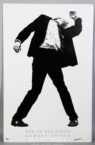 6391 Longo Men In The Cities Signed Poster Jan 13 2013 Kaminski Auctions In Ma Robert Longo Art Men