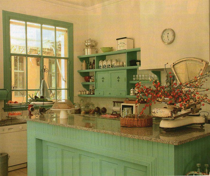 Cocina verde agua  cocina  Pinterest