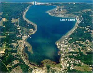 Aerial view of Portage Lake at Onekama, Michigan | Michigan
