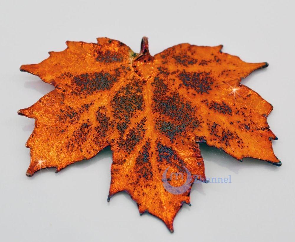Zhannel Real Leaf PENDANT Sugar Maple in Copper Genuine Leaf Handmade USA