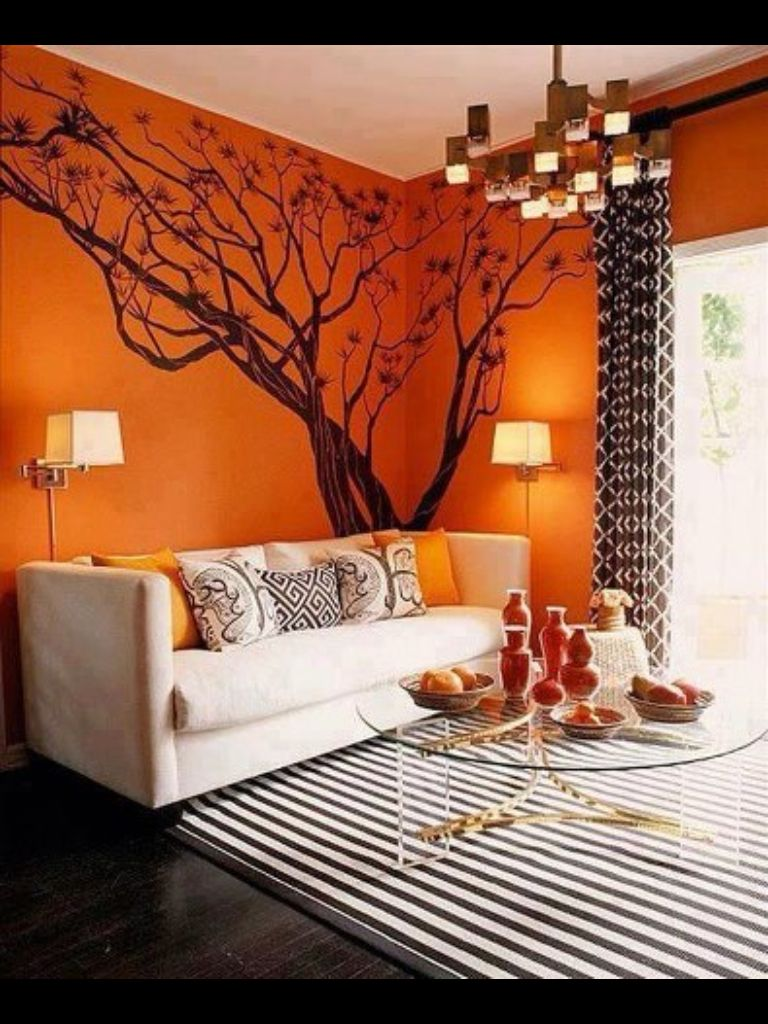 11 Creative Ideas For Modern Wall Decoration With Small Cracks And Imperfections Orange Decor Tree Wall Decal Decor