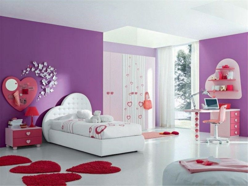 Apartement Pink Ttheme Kids Teenage Girl Bedroom Pink Paint