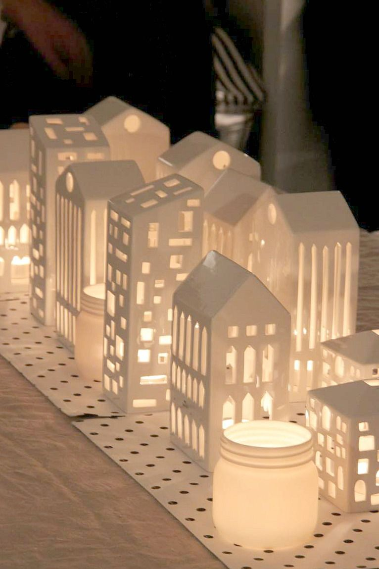Make village buildings out of cardboard modge podge then for How to make christmas candle holders
