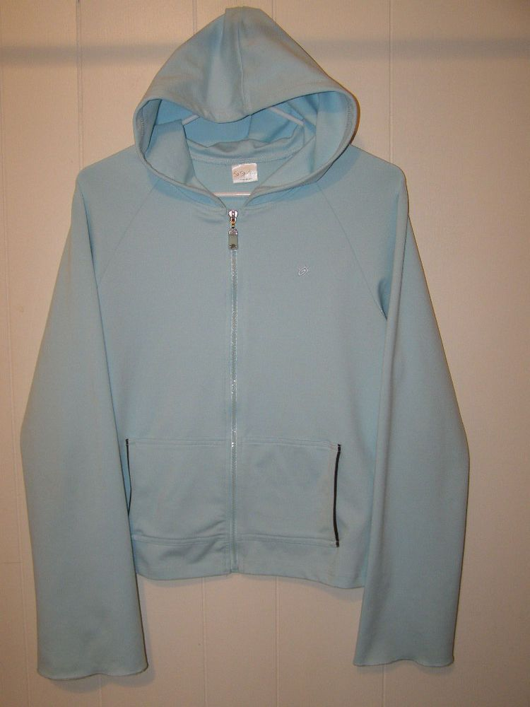 So Sporty Soft Blue Stretch Full Zip Hooded Yoga Workout ...