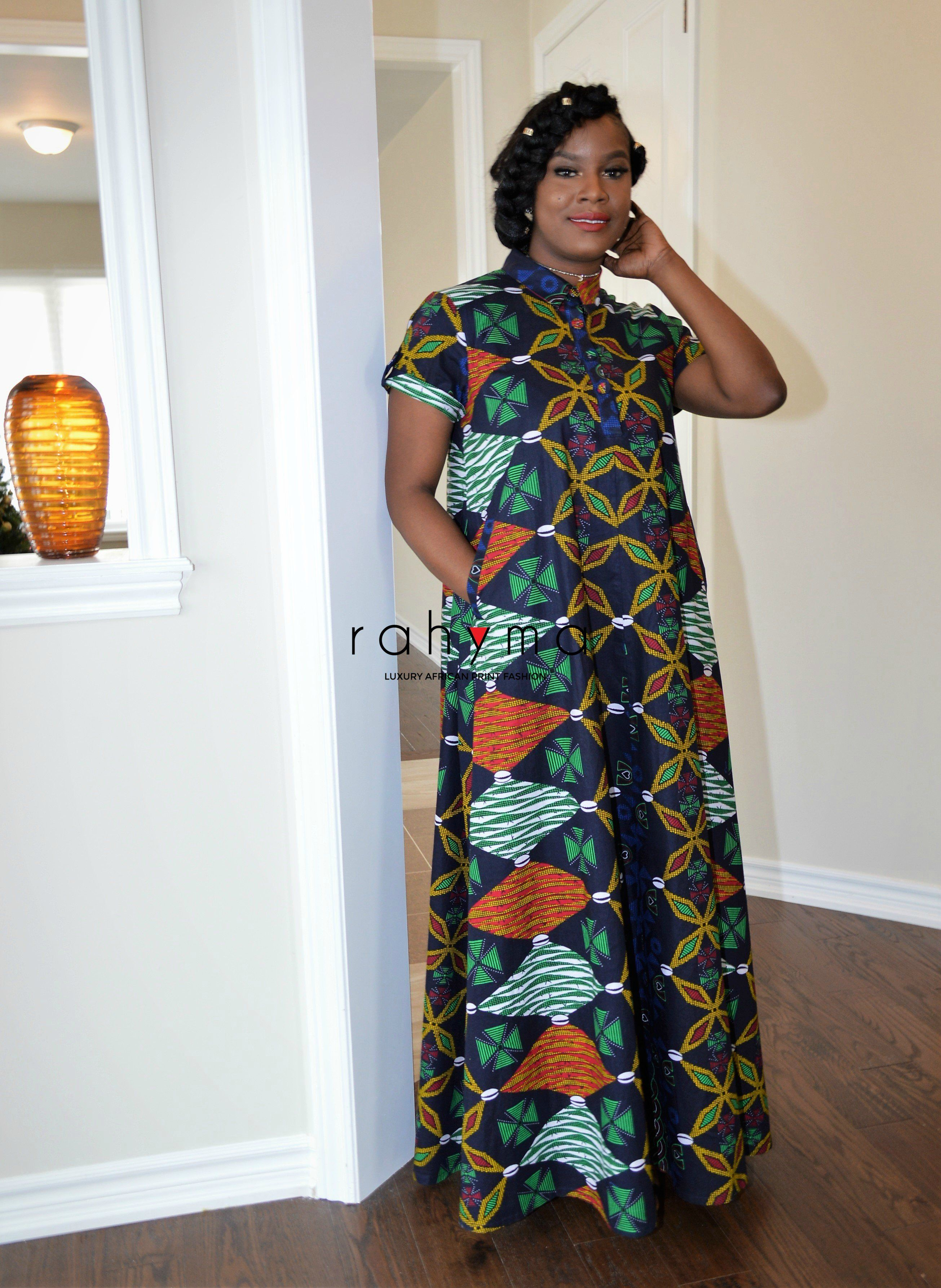 African Print Kaftan Maxi Full A Line Silhouette Stand Up Collar 2