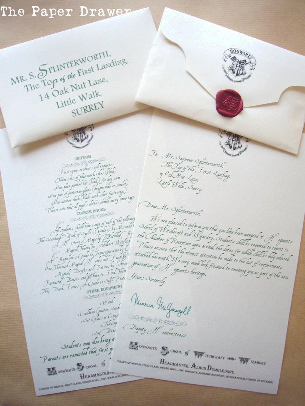 Custom Hogwarts Acceptance Letter Send one to your child