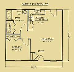 Floor plan for mother in law suite g 39 ma cottages mil for Detached mother in law suite home plans