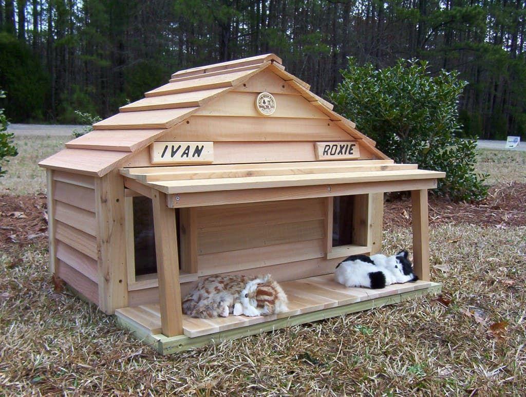 20 Cat House Duplex Custom Dog Cat Houses By Blythe Wood Works Cat House Outdoor Cat House Outdoor Dog House