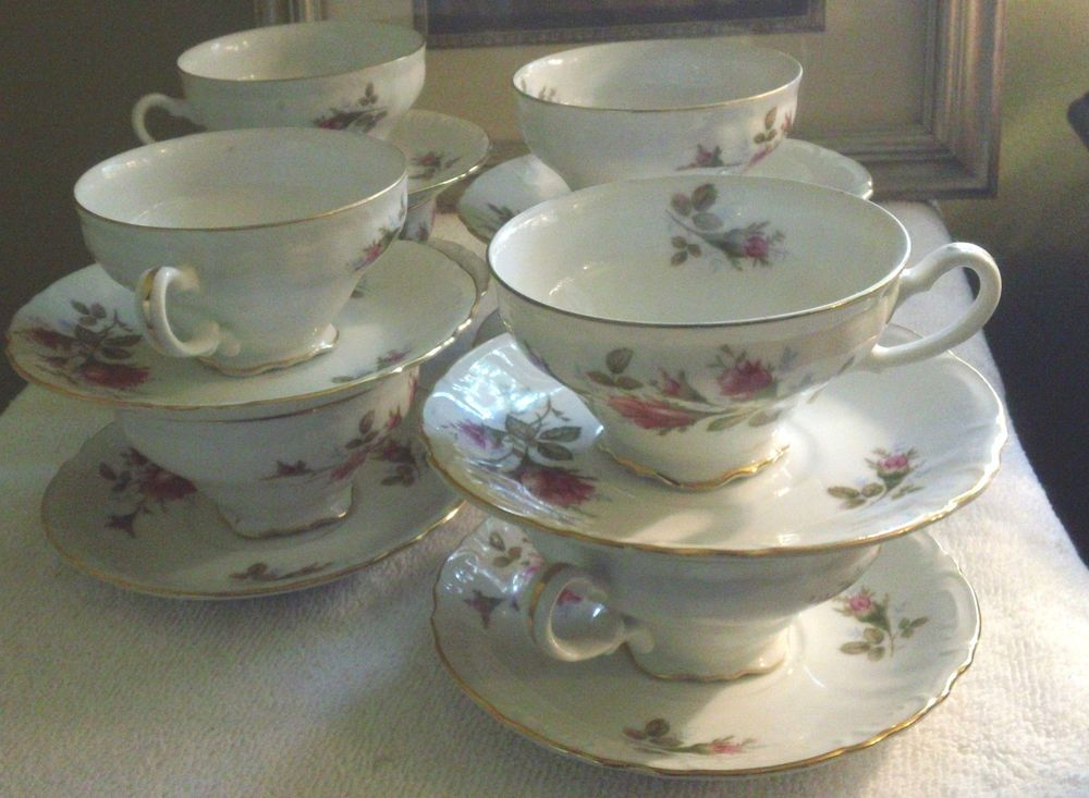 "Fine China Patterns fine china of japan ""royal rose"" pattern set of 8 teacups w"