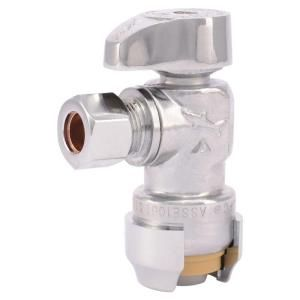 Sharkbite 1 2 In Push To Connect X 3 8 In O D Compression Chrome Plated Brass Quarter Turn Angle Stop Valve 23036 0000lf Pex Plumbing Plumbing Plumbing Fixtures
