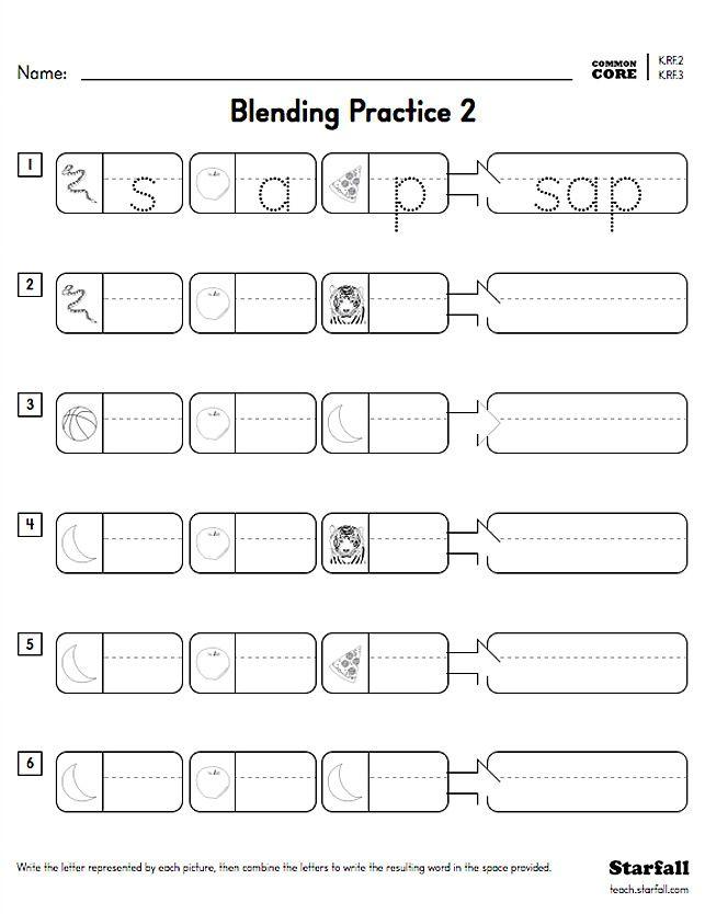 Kindergarten Blending Practice Worksheet Generator - K.RF.2 ...
