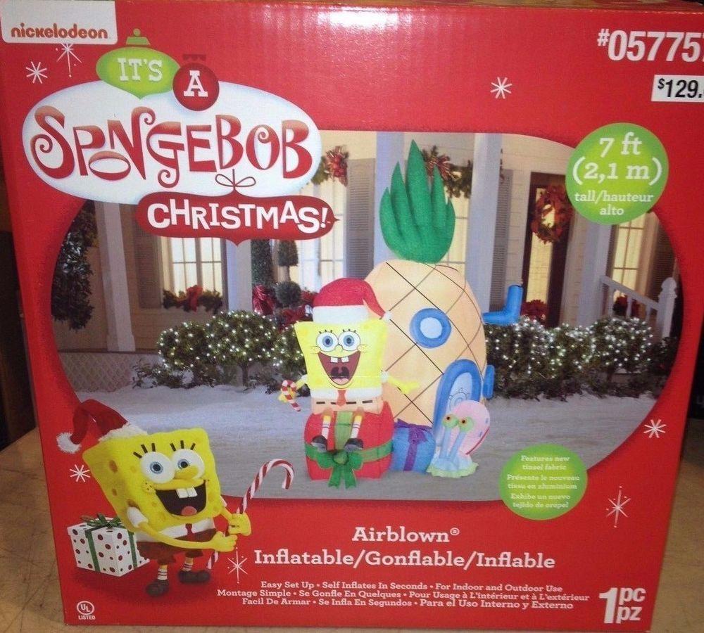 Gemmy inflatable airblown reindeer outdoor christmas decoration lowe - 7 Nickelodeon Santa Spongebob Square Pants Christmas Airblown Inflatable Gemmy