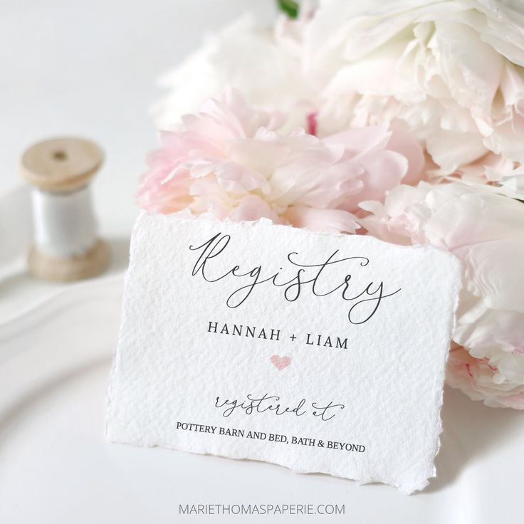 Lacie registry card template bridal shower registry