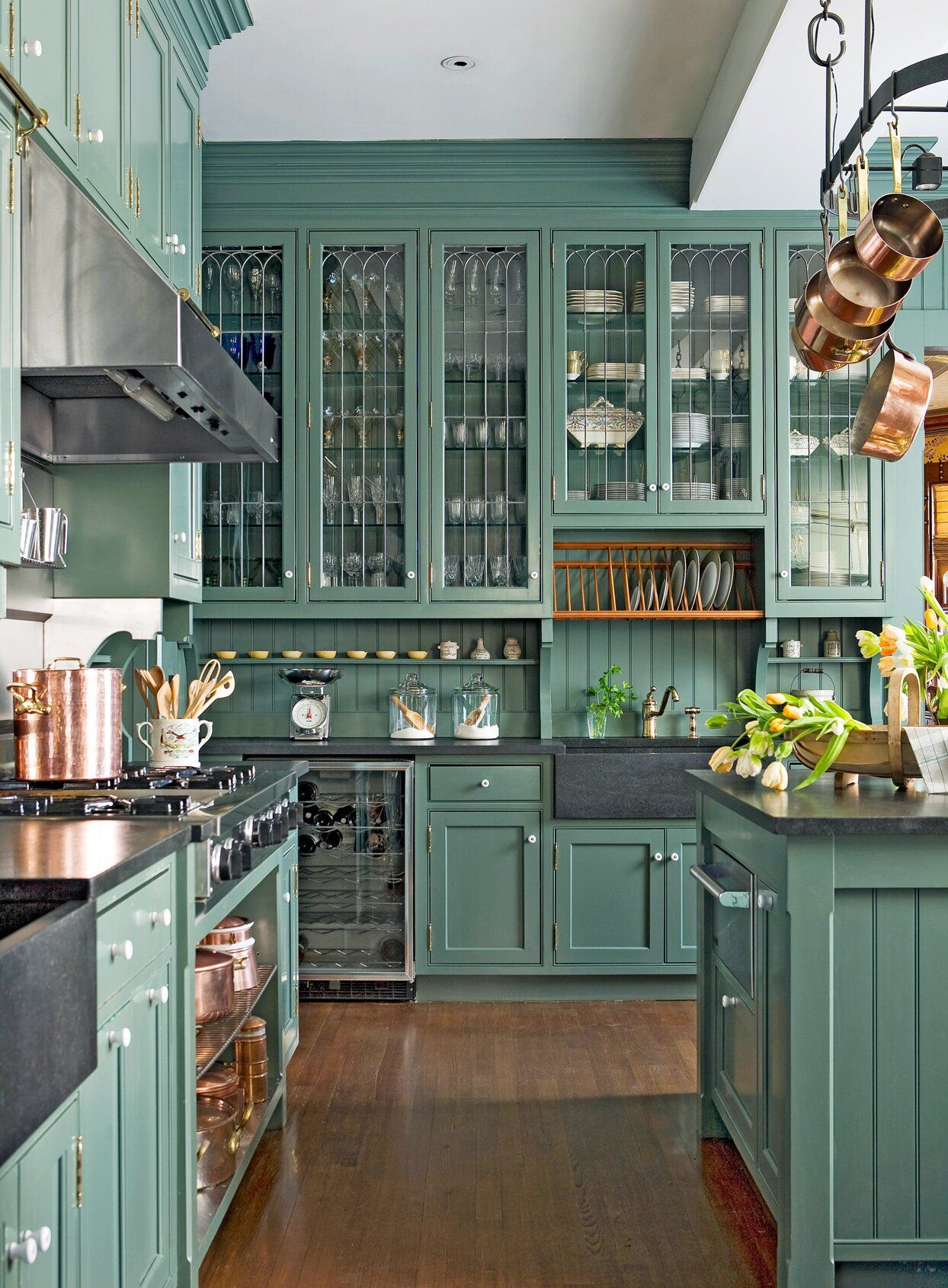 19 Green Color Schemes That Prove This Fresh Hue Goes With Almost Everything In 2020 Green Kitchen Cabinets Kitchen Cabinet Styles Glass Fronted Kitchen Cabinets