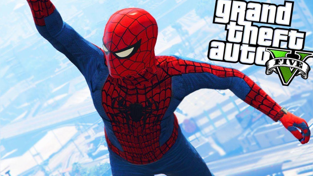 GTA 5 Mods: NEW SPIDERMAN MOD!!! w/ GRAPPLING HOOK! & WING SUIT (GTA