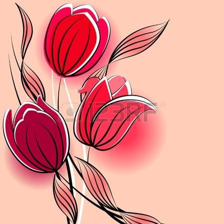 Fiori Stilizzati Sfondo Pastello Con Tulipani Stilizzati Lavori