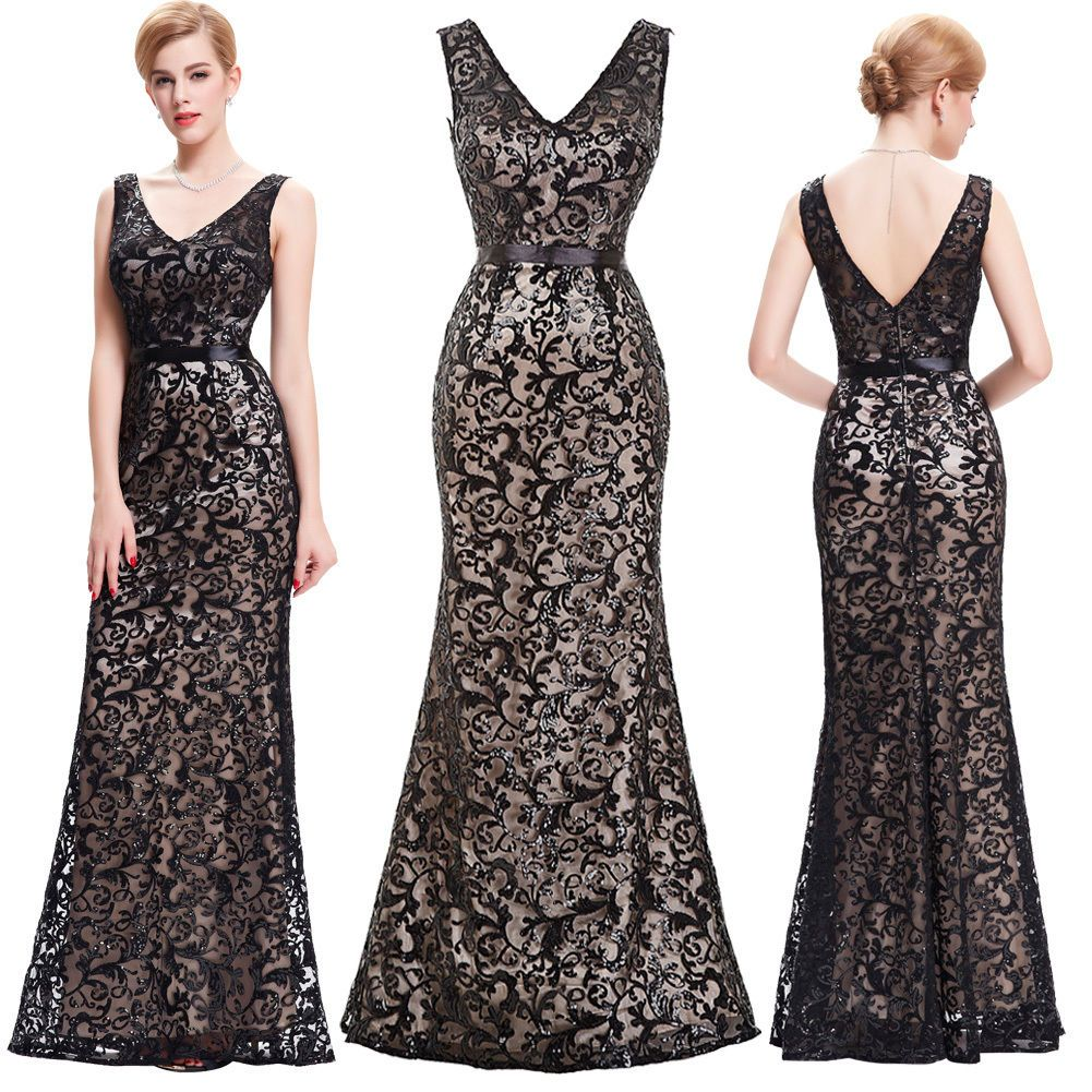 Vintage women formal sequined long wedding party evening gown dress