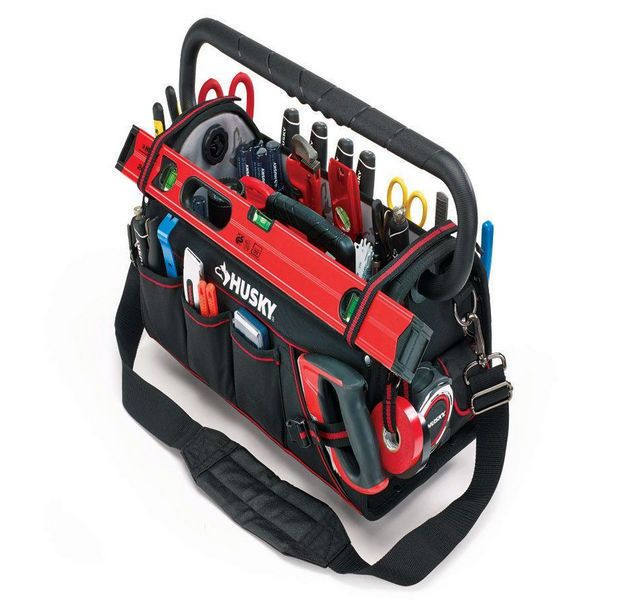 Husky 20in Pro Electrician Heavy Duty Tool Bag Tote Storage With Pull Out Tray Tote Storage Tool Tote Tool Bag
