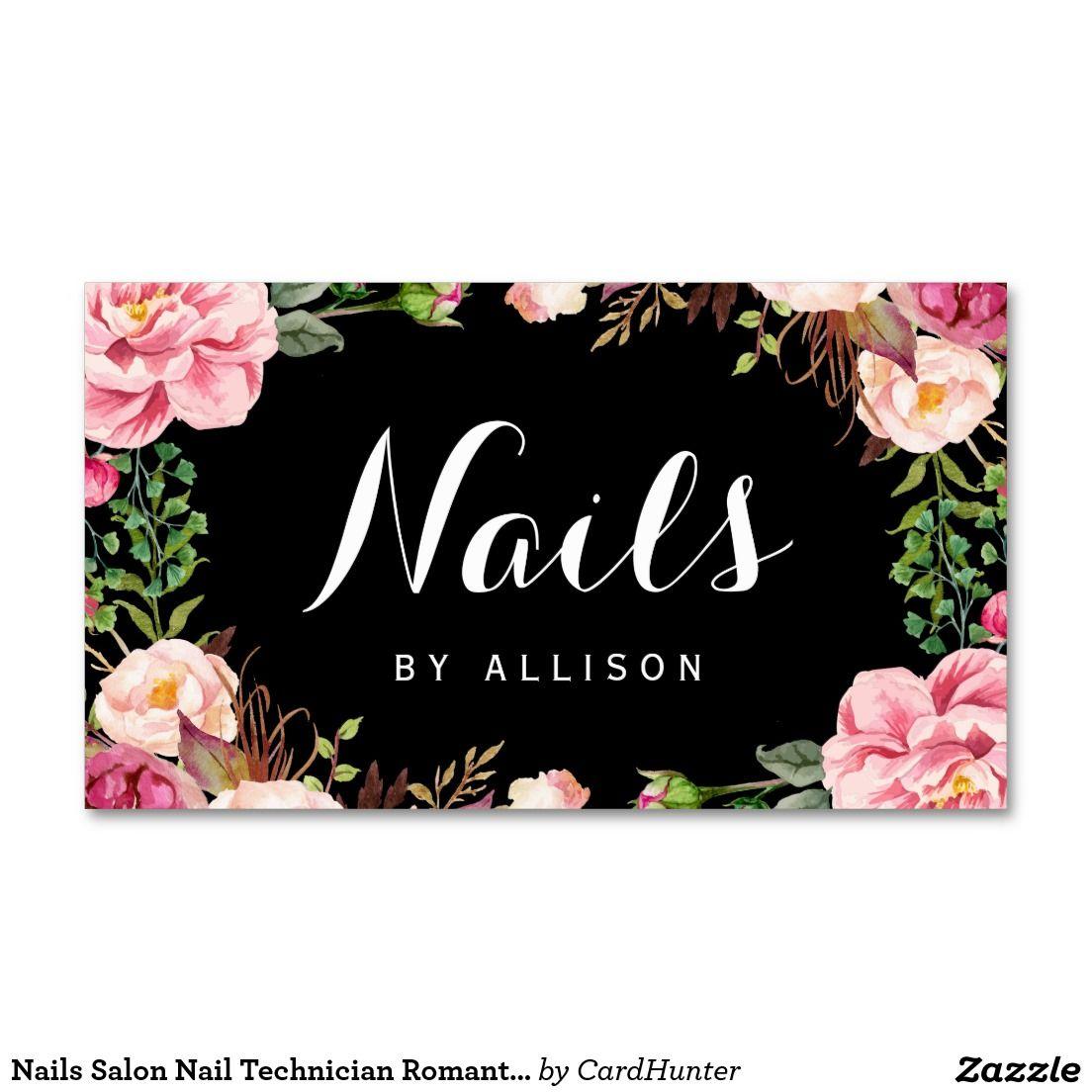 Nails Salon Nail Technician Romantic Floral Wrap Business Card ...