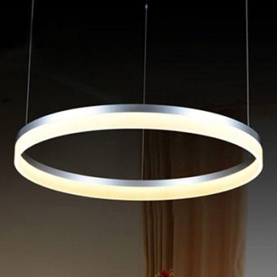 Silver Pratical Simple Led Round Pendant In One Tier Gartenmobel