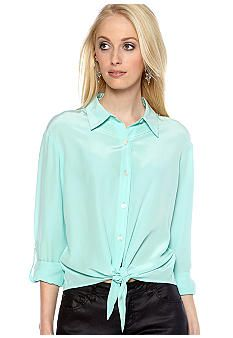TWO by Vince Camuto Tie Front Blouse with Lace Back