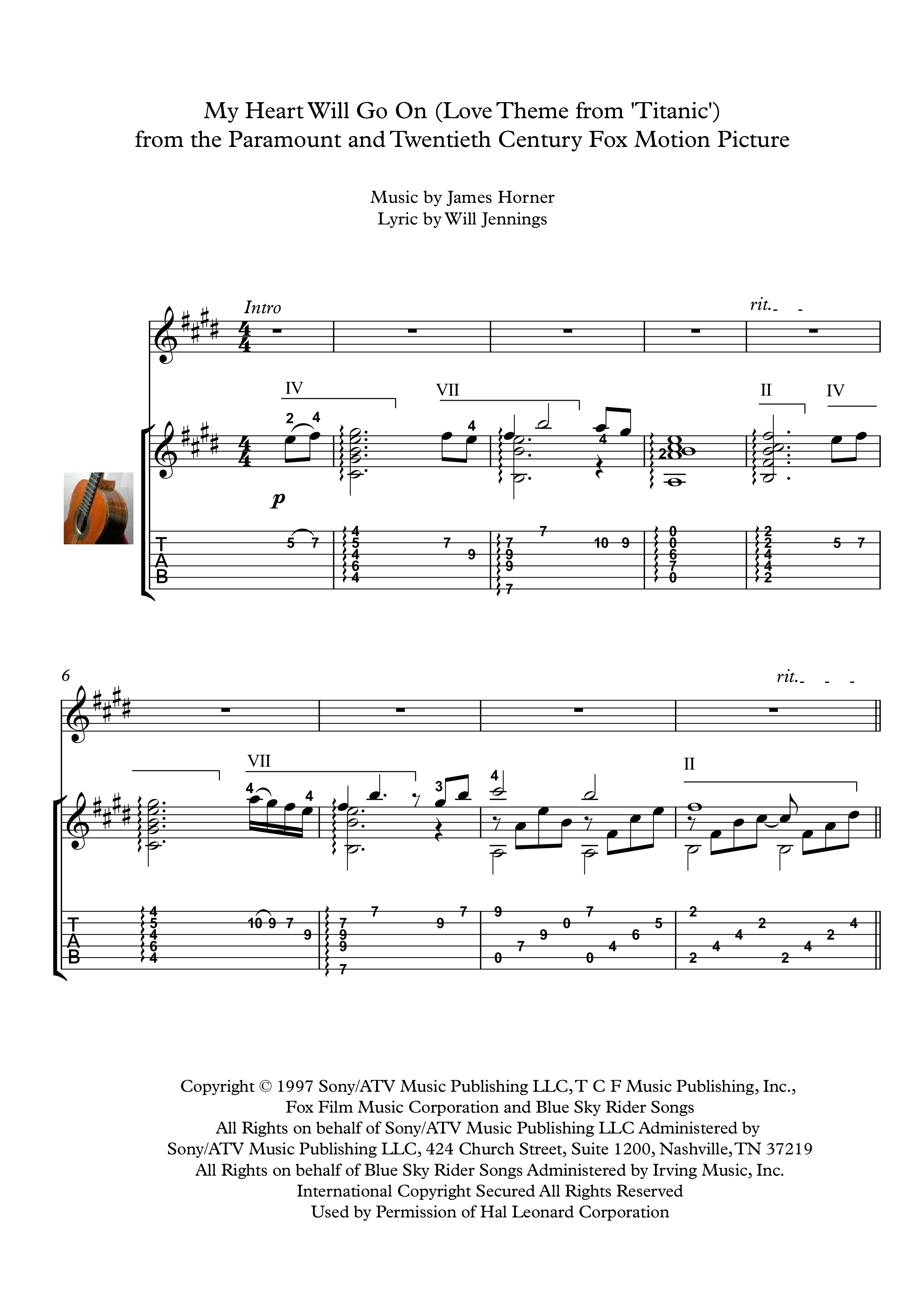 My Heart Will Go On Guitar Solo Sheet Music My Heart Will Go On Love